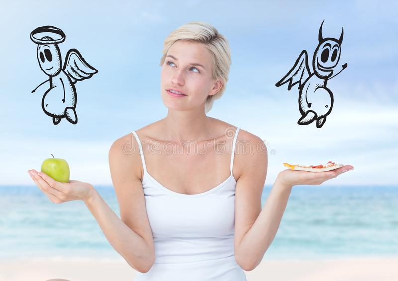 Nourriture de choix ou décisive de femme bonne ou mauvaise avec les mains ouvertes de paume photo stock