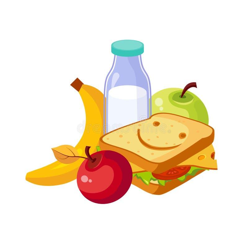 Nourriture de déjeuner, sandwich, lait et fruits, ensemble d'école et objets relatifs d'éducation dans le style coloré de bande d illustration libre de droits