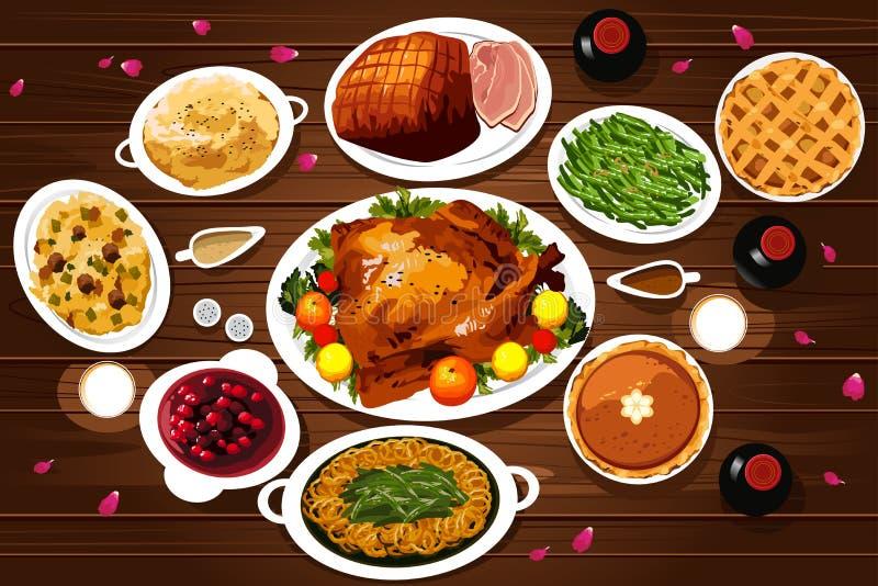 Nourriture de dîner de thanksgiving illustration de vecteur