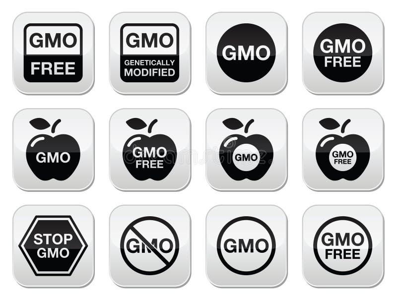 Nourriture de GMO, aucune icônes gratuites de GMO ou de GMO réglées illustration de vecteur