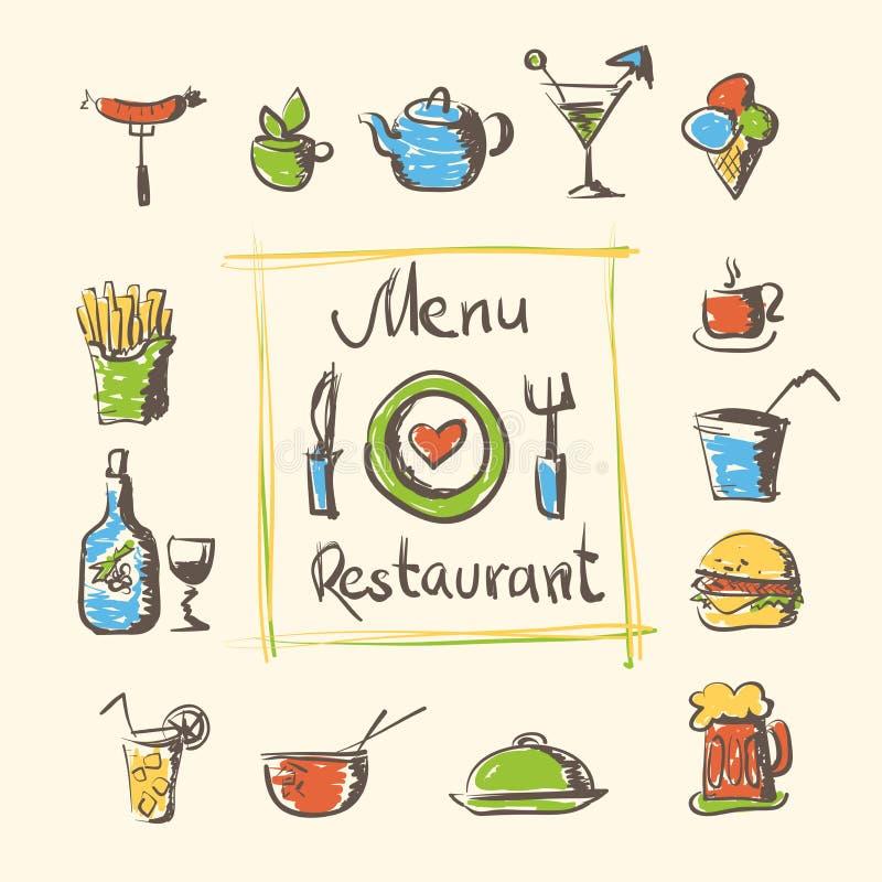 Nourriture de menu de café et icônes tirées par la main de boissons illustration libre de droits