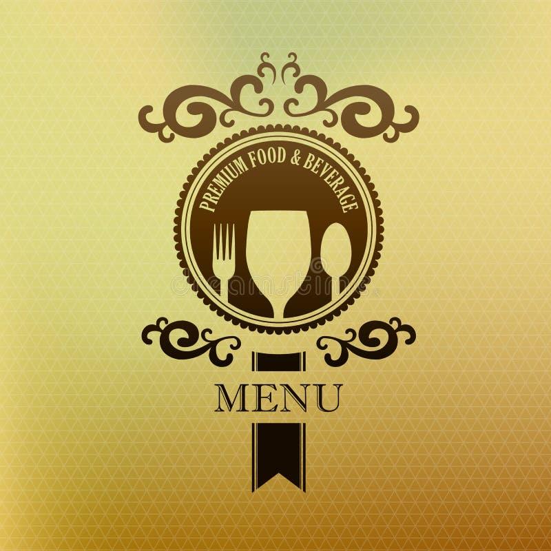 Nourriture de menu de label de vintage et couverture de boisson illustration stock