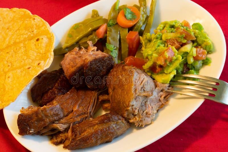 Nourriture de Mexicain de Carnitas photographie stock libre de droits