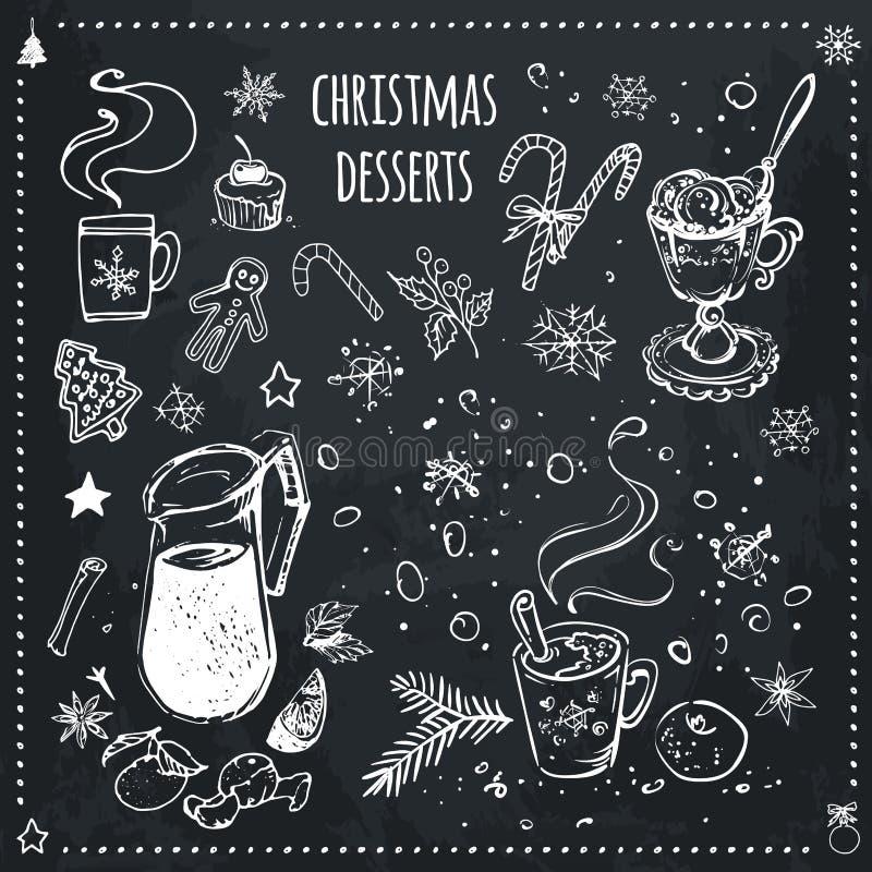 Nourriture de Noël et ensemble de desserts Icônes de craie illustration libre de droits