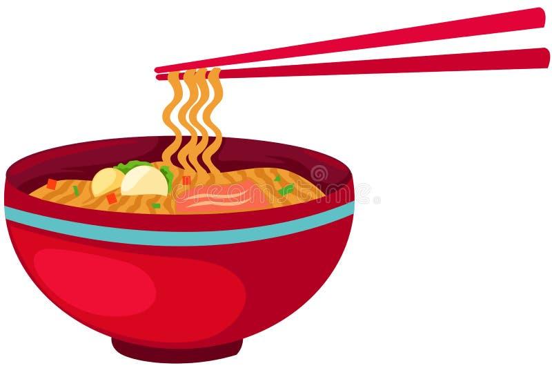 Nourriture de nouilles avec des baguettes illustration de vecteur