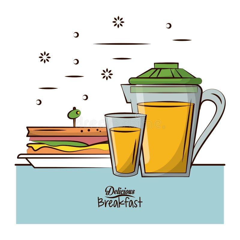 Nourriture de petit déjeuner délicieuse illustration de vecteur