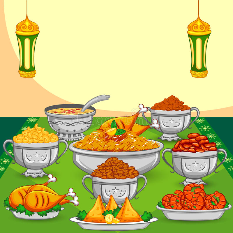 Nourriture de Ramadan Iftar illustration stock