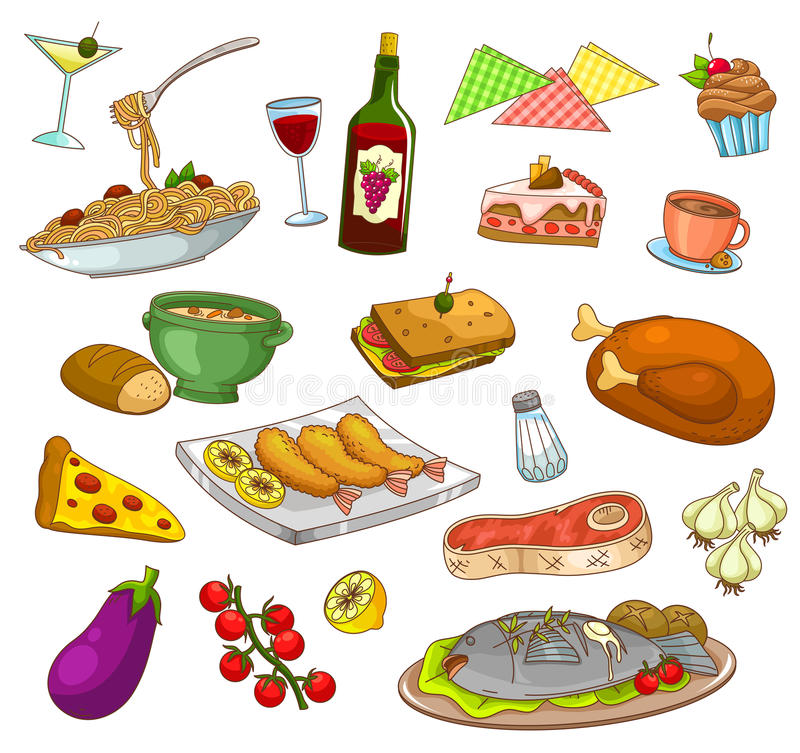 Nourriture de restaurant illustration stock
