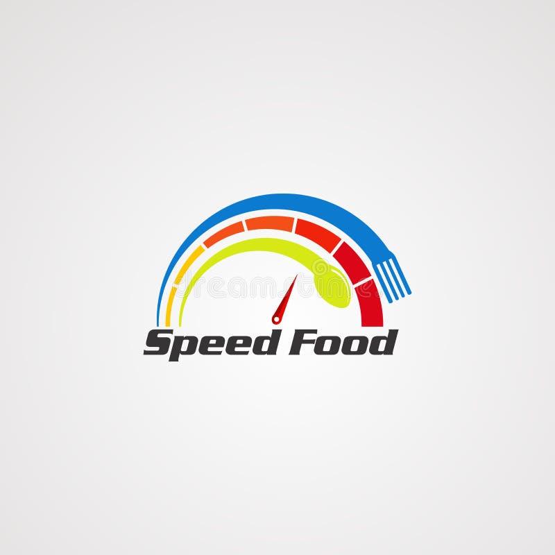 Nourriture de vitesse avec le concept de vecteur de logo de fourchette et de cuill?re, l'ic?ne, l'?l?ment, et le calibre pour la  illustration de vecteur