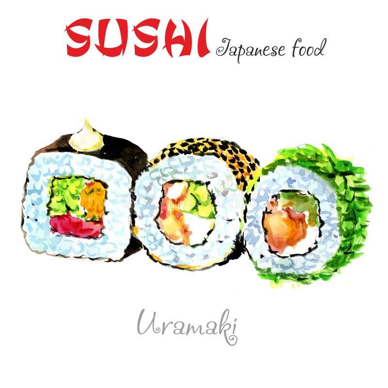 Nourriture du Japon Illustration d'aquarelle Uramaki illustration stock