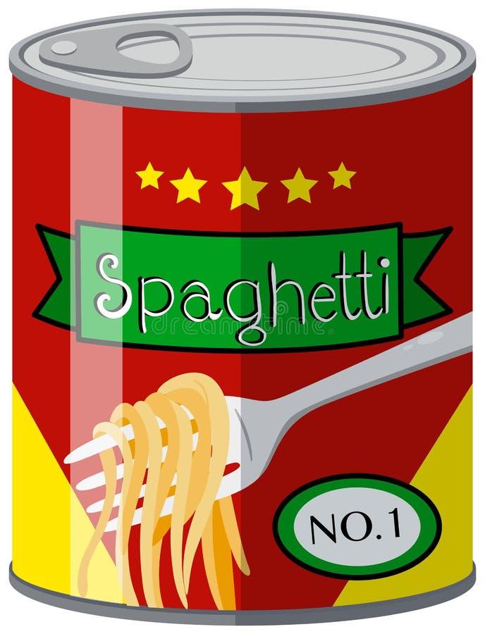 Nourriture en boîte avec des spaghetti illustration libre de droits