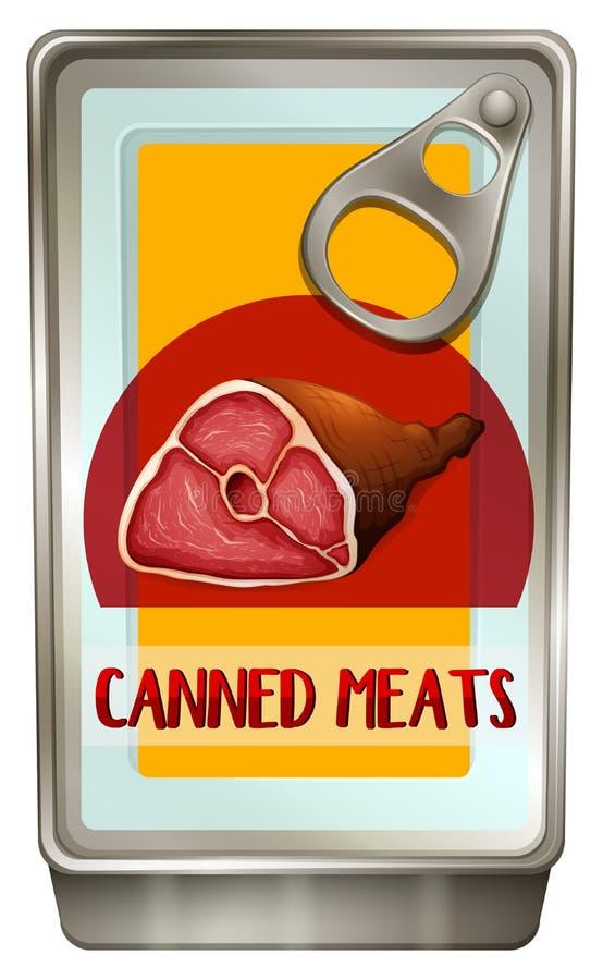 Nourriture en boîte avec des viandes à l'intérieur illustration stock