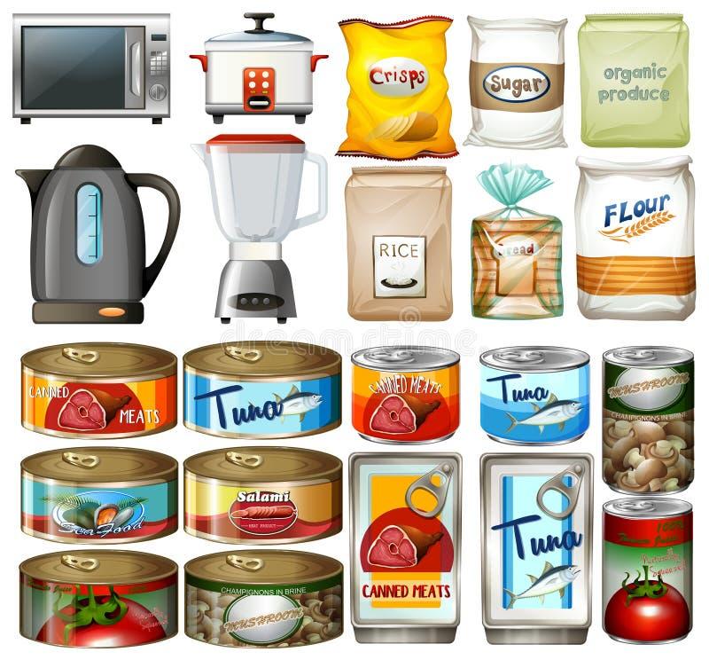 Nourriture en boîte et dispositifs électroniques de cuisine illustration de vecteur
