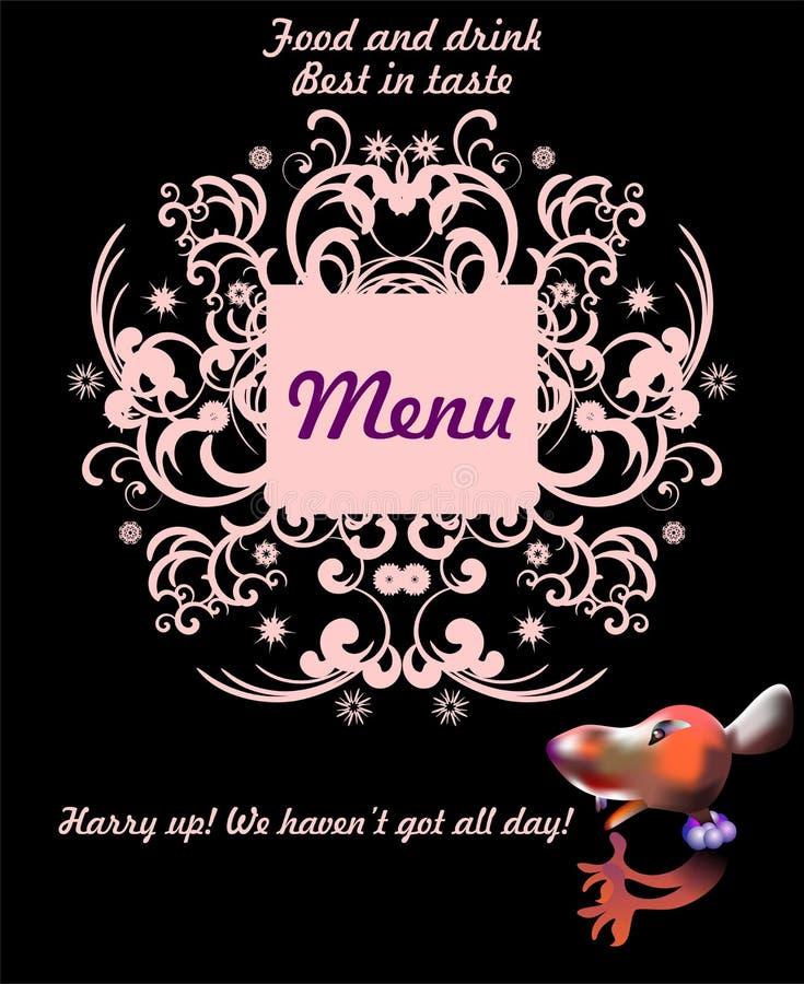 Nourriture et boisson avec une souris illustration stock