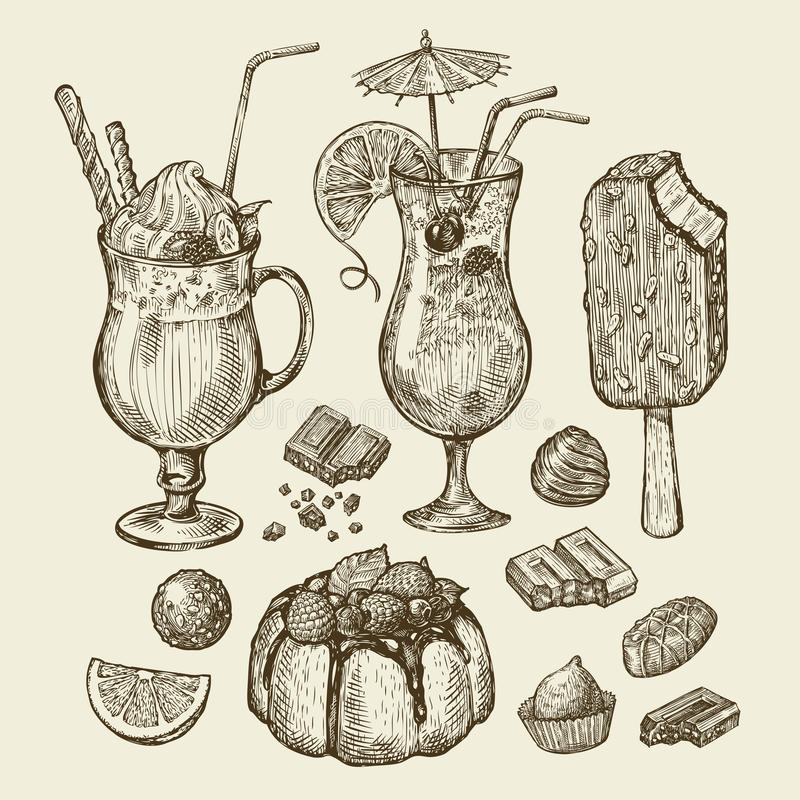 Nourriture et boissons Cocktail tiré par la main, smoothie, tarte, pâté en croûte, gâteau, esquimau, parfait, milkshakes, chocola illustration stock