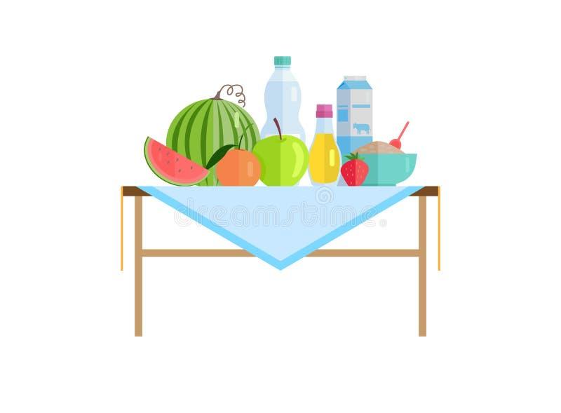 Nourriture et boissons ou lait saines sur le Tableau d'isolement illustration de vecteur