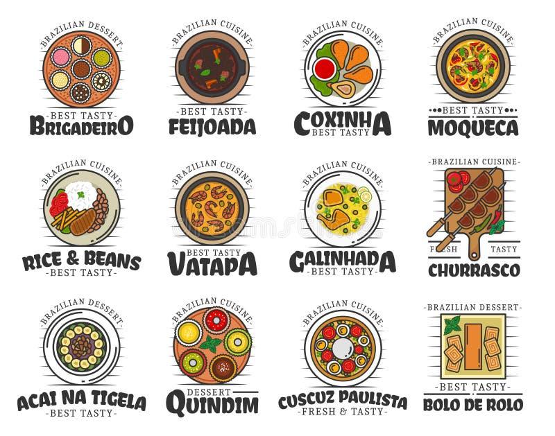 Nourriture et desserts de cuisine brésilienne d'isolement illustration de vecteur