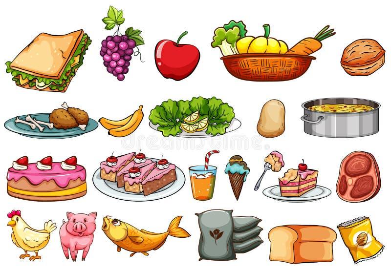 Nourriture et ingrédients réglés illustration stock