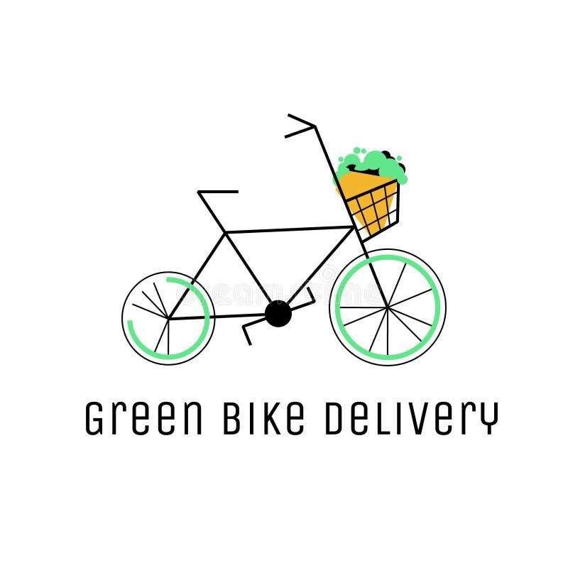 Nourriture et vecteur Logo Concept de la livraison de verts Vélo vert avec l'illustration de panier illustration de vecteur