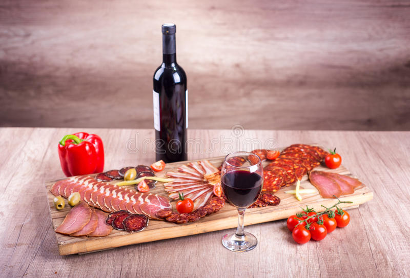 Nourriture et vin, combinaison parfaite photos libres de droits