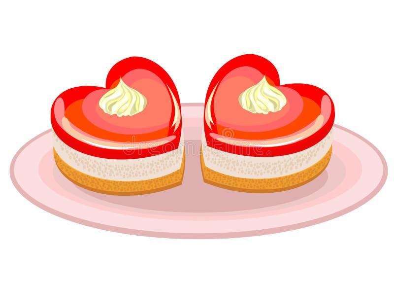 Nourriture exquise Un gâteau sous forme de coeur Approprié au jour de Valentine s, jour de Valentine s Illustration de vecteur illustration stock