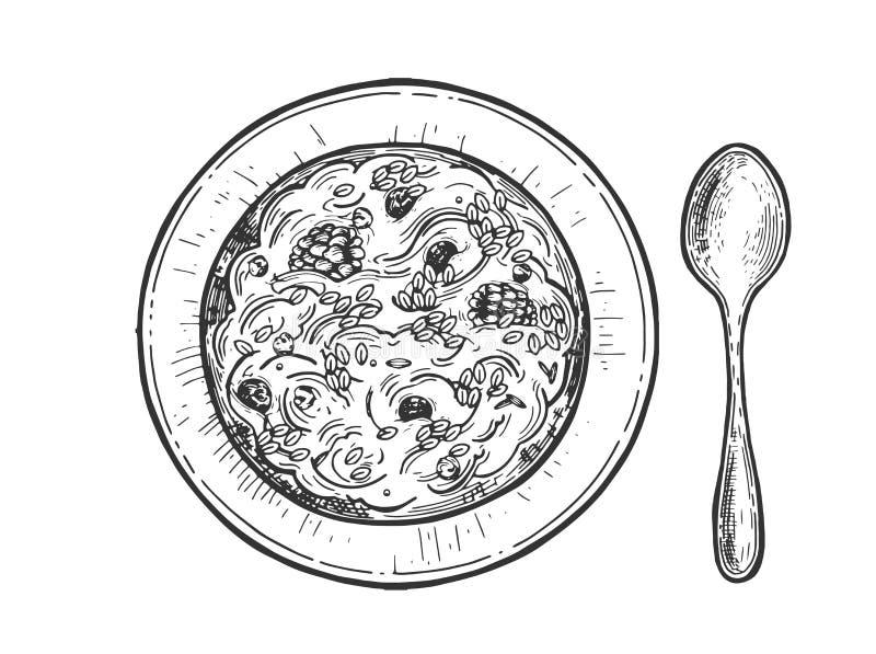 Nourriture fraîche et saine pour le petit déjeuner illustration stock