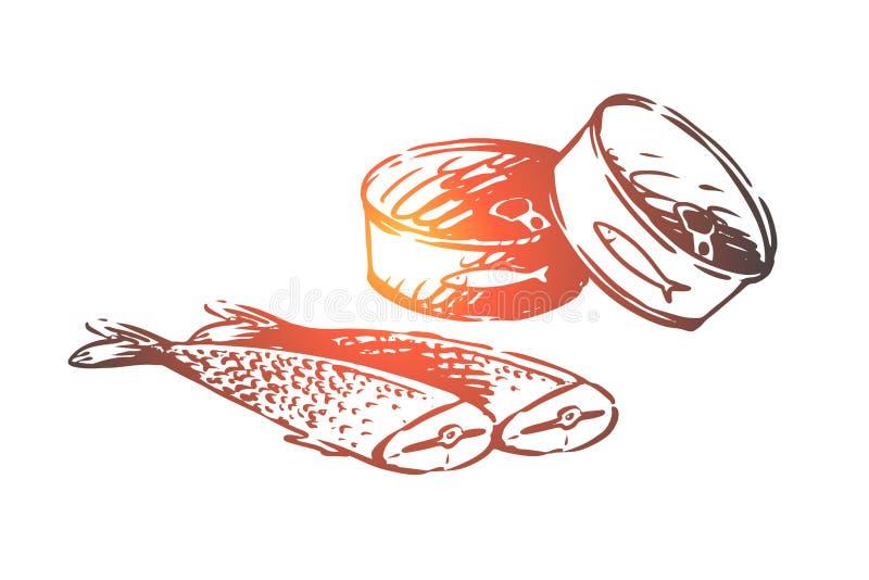 Nourriture, fruits de mer, poisson, thon, concept de nourriture en boîte Vecteur d'isolement tiré par la main illustration libre de droits