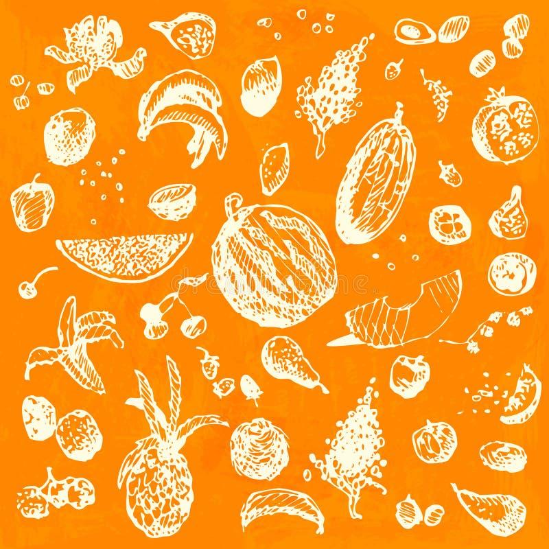 Nourriture, fruits et baies tirés par la main de griffonnage Objets blancs, fond sans couture d'aquarelle orange image stock