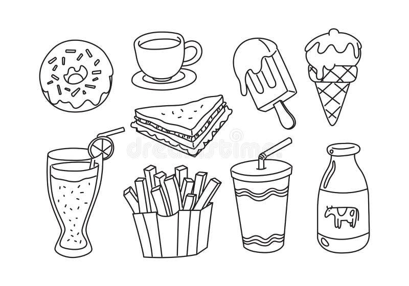 Nourriture graphique d'ensemble, vecteur illustration de vecteur