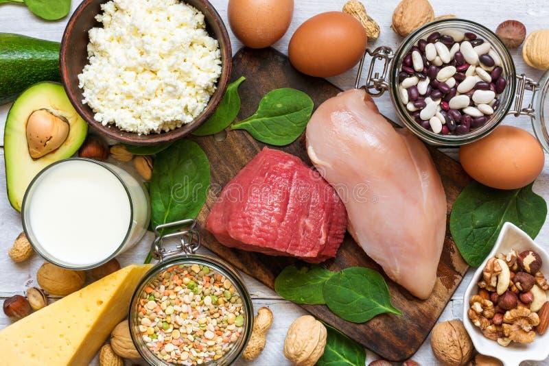 Nourriture haute en protéine Concept sain de consommation et de régime images stock
