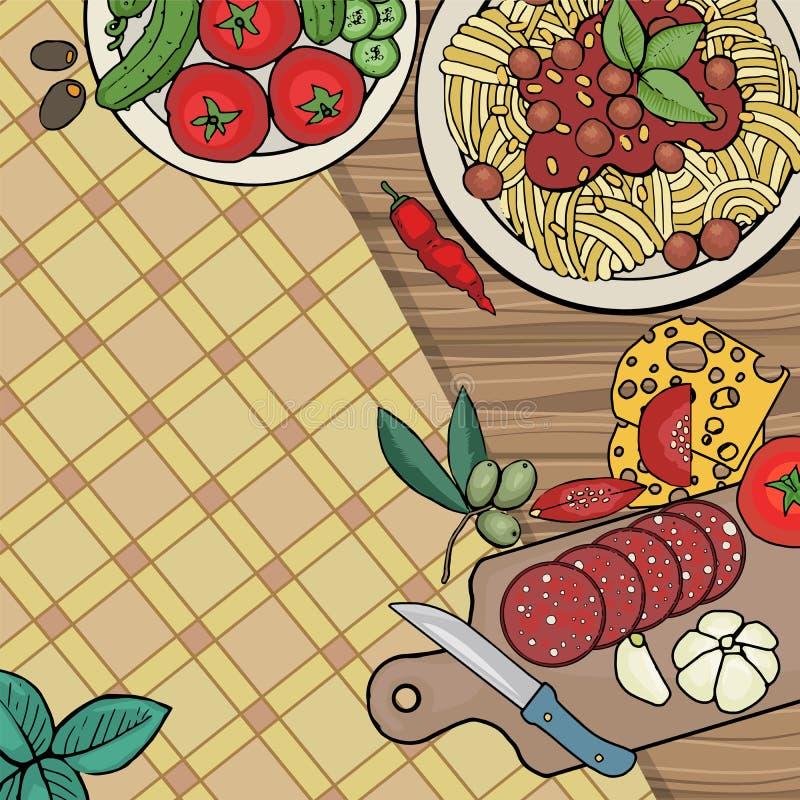 Nourriture italienne avec le plat des pâtes illustration stock