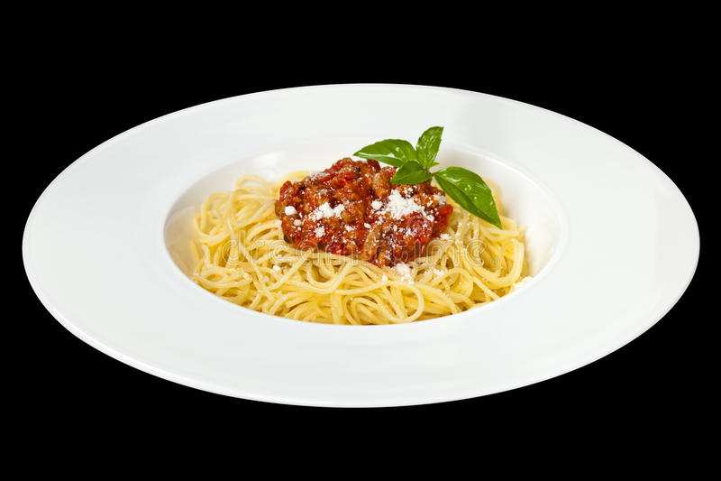 Nourriture italienne Spaghetti Bolonais photographie stock libre de droits