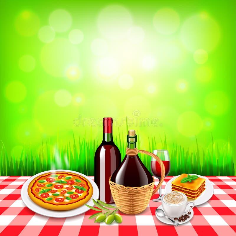 Nourriture italienne sur la table à carreaux de nappe et le fond vert illustration libre de droits
