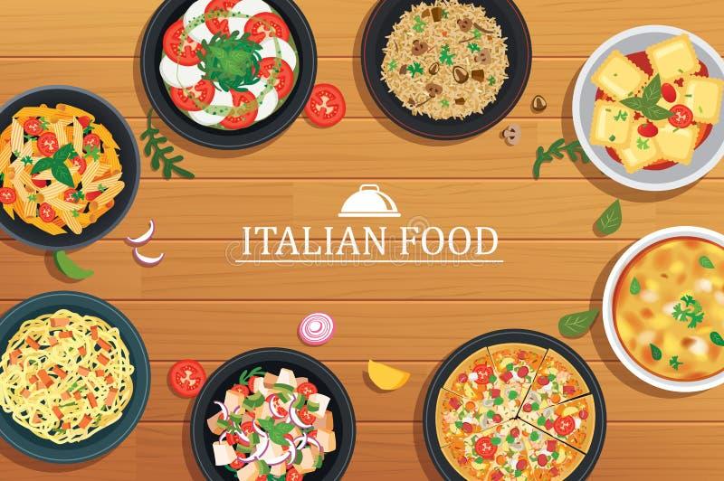 Nourriture italienne sur un fond en bois de table Illustration t de vecteur illustration libre de droits