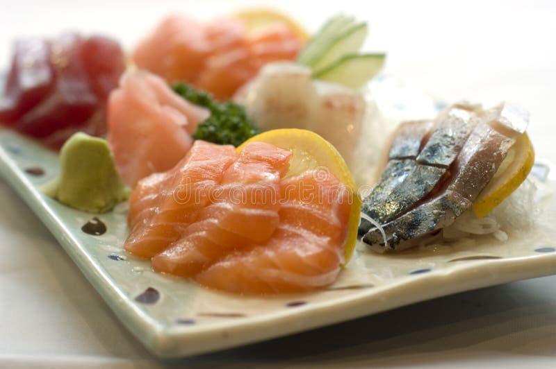 Nourriture japonaise, carte de sashimi images stock