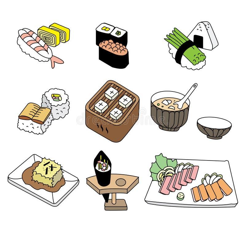 Nourriture japonaise de sushi illustration stock