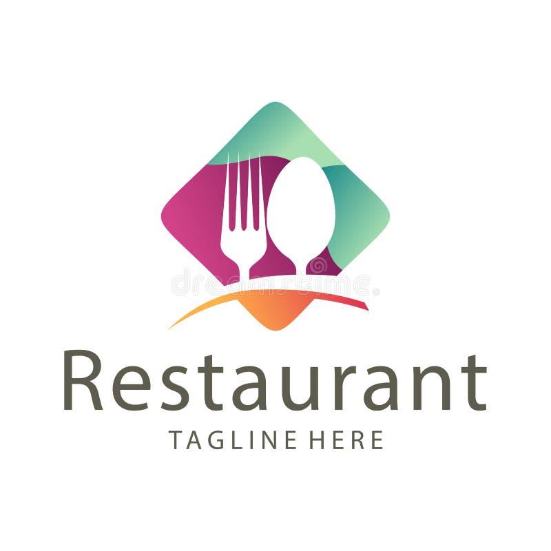 Nourriture ?l?gante de restaurant et conception de logo de boissons illustration libre de droits
