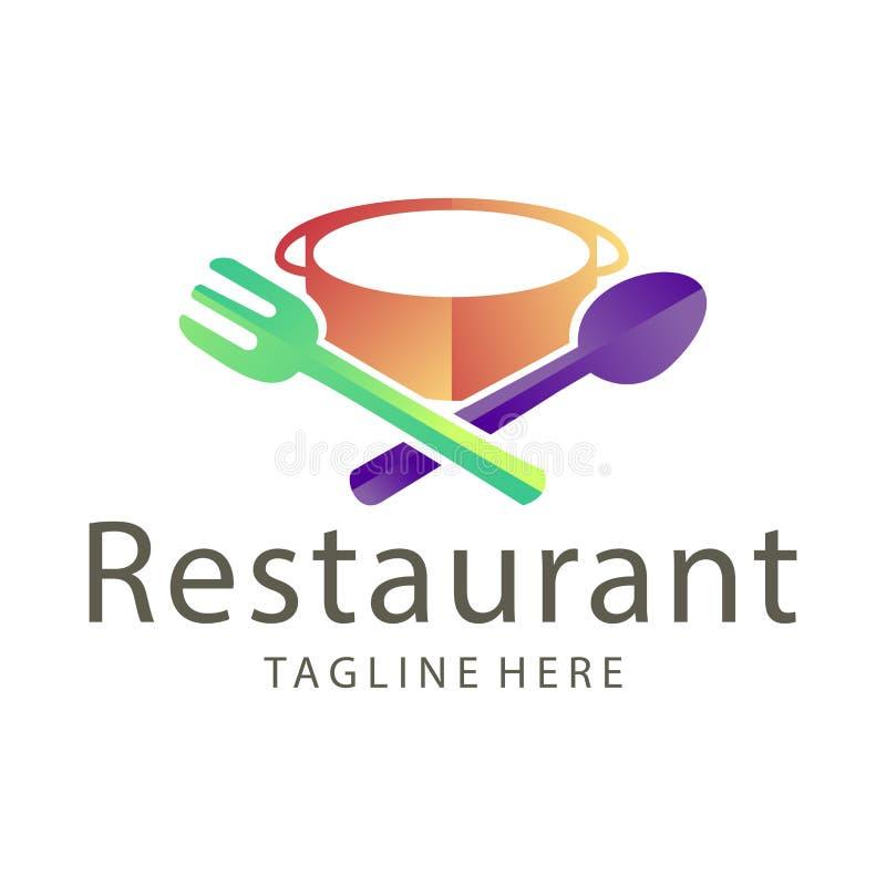 Nourriture ?l?gante de restaurant et conception de logo de boissons illustration de vecteur