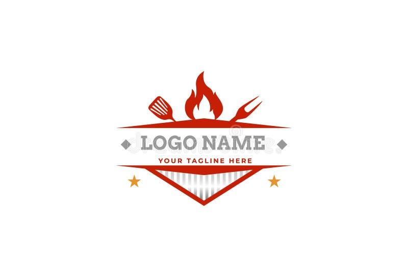 Nourriture ?l?gante de restaurant et conception de logo de boissons illustration stock