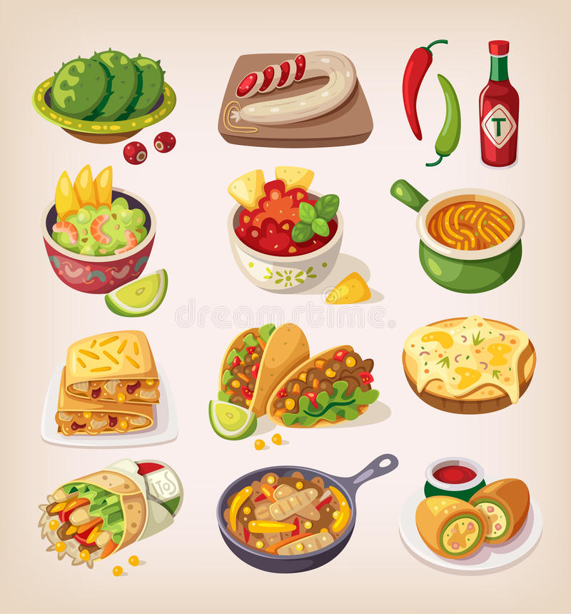 Nourriture mexicaine colorée illustration de vecteur
