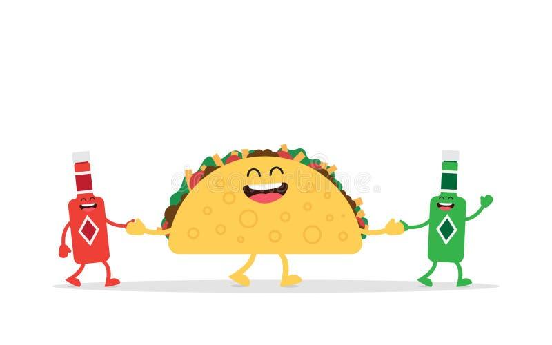 Nourriture mexicaine de Taco drôle illustration stock