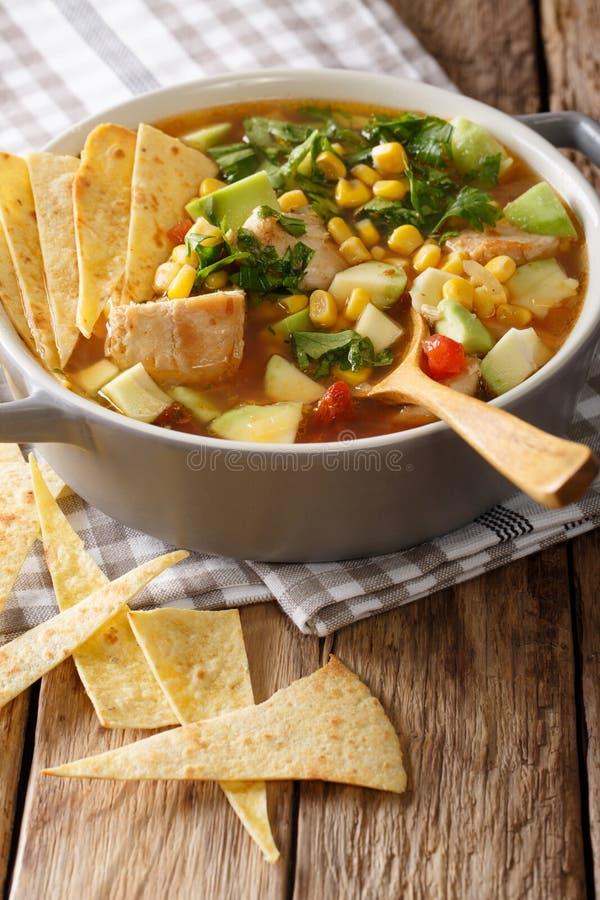 Nourriture mexicaine : soupe à tortilla avec le poulet, tomates, avocat et photo stock