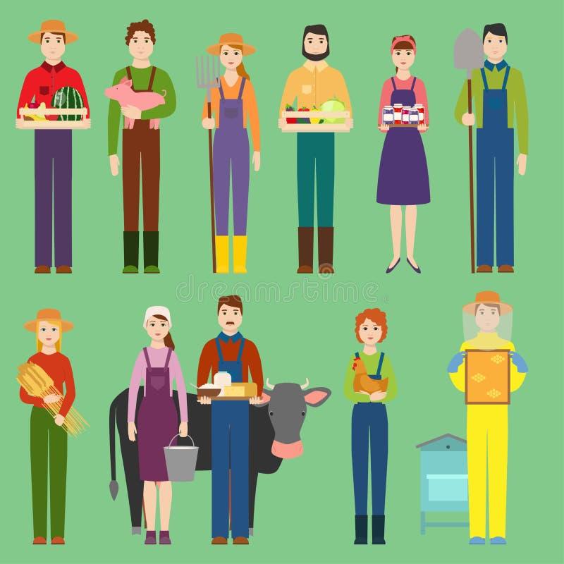 Nourriture organique et animaux de produit naturel de village d'homme et de femme de personnes de vecteur d'agriculteurs Caractèr illustration libre de droits