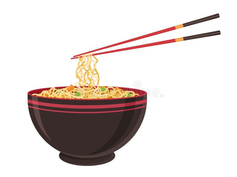 Nourriture orientale à la nouille Tradition asiatique de ramen Restaurant chinois de nouilles avec pâtes et baguettes Illustratio illustration stock