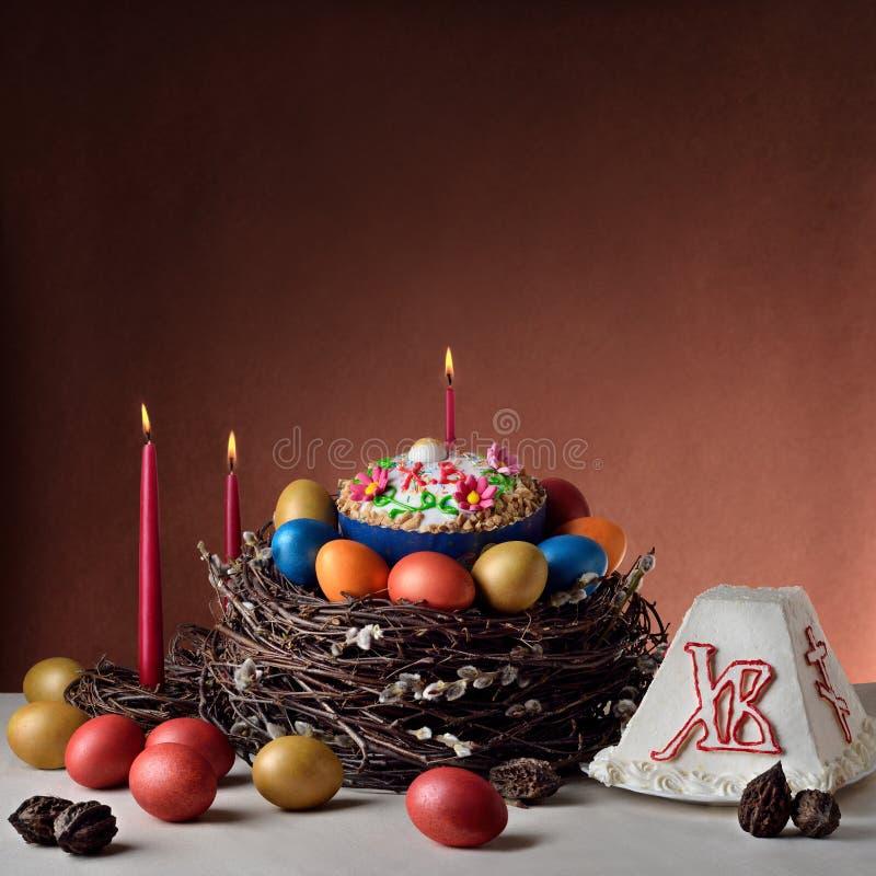 Nourriture pascale Russe-orthodoxe traditionnelle de Pâques image libre de droits