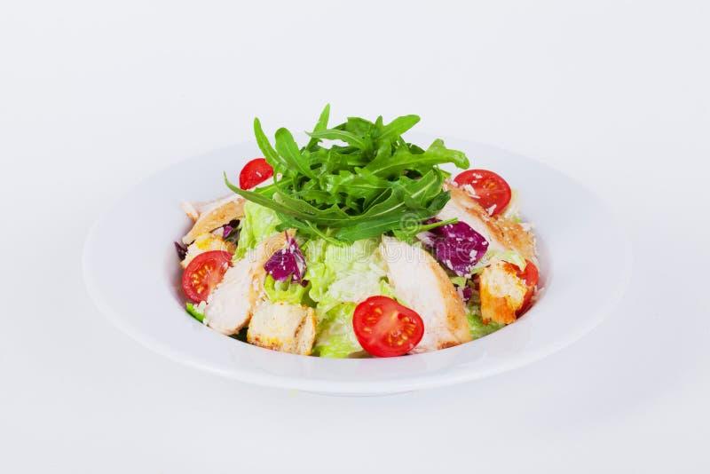 Nourriture pour la salade de César de restaurant avec le poulet photographie stock