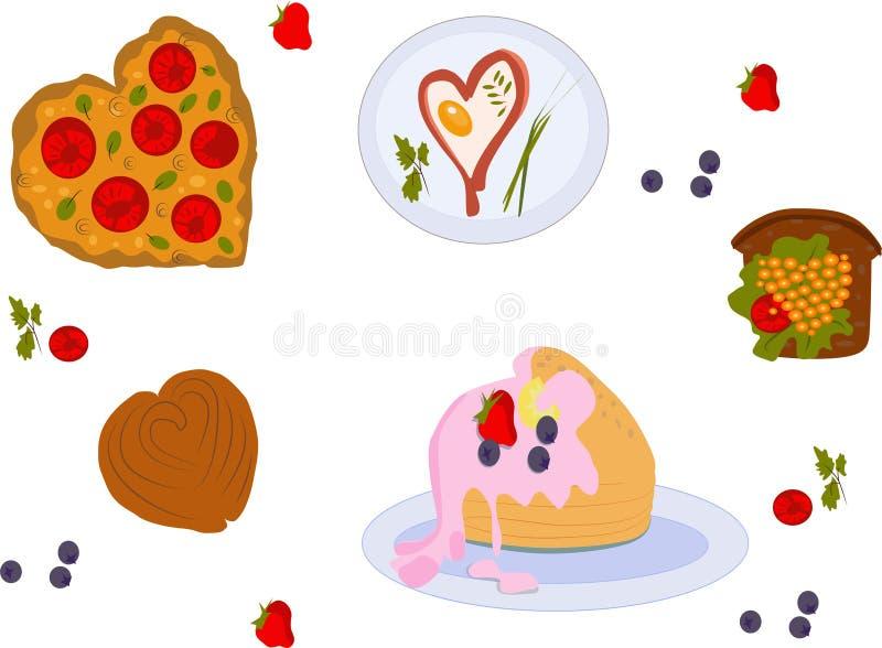 Nourriture pour le jour de valentines illustration libre de droits