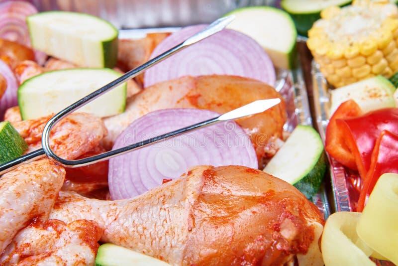 Nourriture préparée pour griller image libre de droits