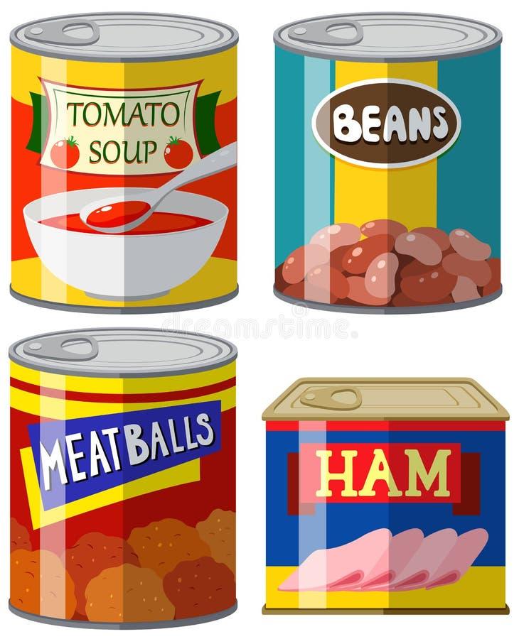 Nourriture quatre en boîte sur le fond blanc illustration stock
