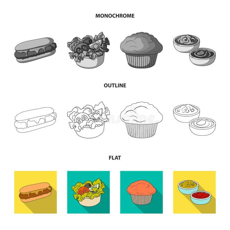 Nourriture, repos, rafraîchissements, et toute autre icône de Web dans l'appartement, contour, style monochrome Gâteau, biscuit,  illustration stock